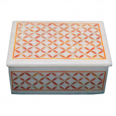 Beautiful White Marble Jewelry Box Inlaid Carnelian Semi Precious Stone