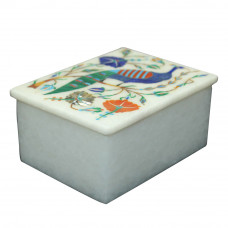 Beautiful Peacock Design Marble Jewelry Trinket Box