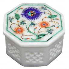 Octagonal White Marble Trinket Box Inlaid Semi Precious Stones
