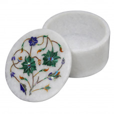 White Marble Jewelry Box Inlaid Malachite Pietra Dura