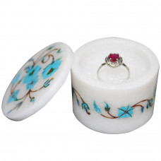 Ring Box White Marble Inlay Turquoise Semi Precious Stone