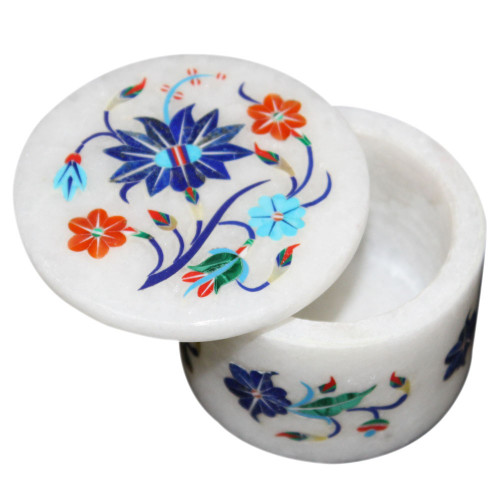 White Marble Inlay Ring Box For Jewelry
