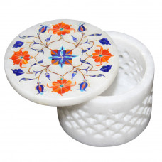 Creative White Marble Inlay Trinket Box Filigree Art