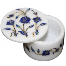 White Marble Inlay Trinket Box For Home Decor