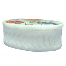 Oval Marble Inlay Jewelry Box Christmas Gift Collection