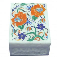 Marble Inlay Handicrafts Jewelry Box Antique Pietra Dura Art