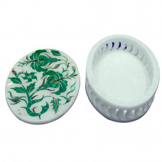 Lattice Art White Alabaster Oval Jewelry Box