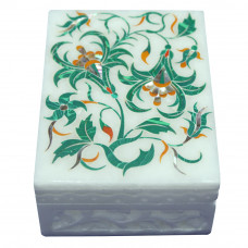 Filigree Art Work White Marble Jewelry Box