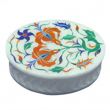 Mughal Art Alabaster Oval Filigree Jewelry Box