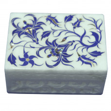 Marble Inlay Lapis Lazuli Ring Box Handmade Handicrafts