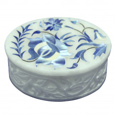 Ring Box Marble Inlaid Pietra Dura Design Floral Pattern Taj Mahal Art Work