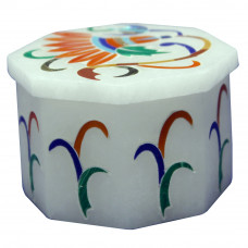 Octagonal Alabaster Moroccan Ring Box Inlaid Carnelian