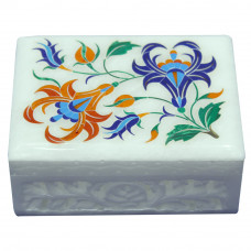 White Marble Inlay Jewelry Box A Vintage Art Work