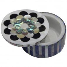 Round Shape Marble Inlay Trinket Box Pietra Dura Milky Shell