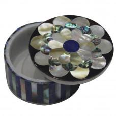 Round Shape Marble Inlay Trinket Box Pietra Dura Lapislazuli And Paua Shell