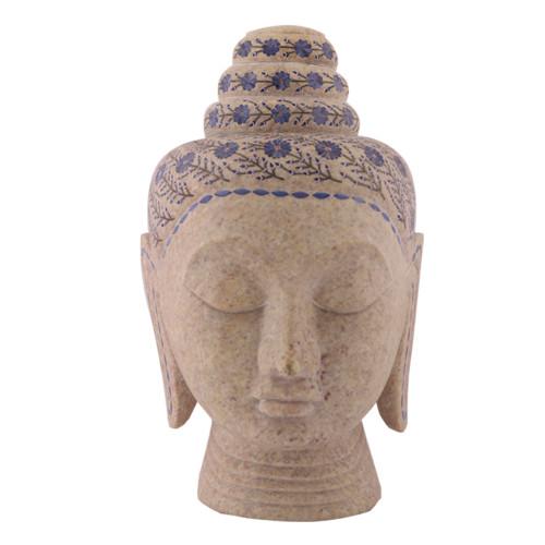 Handmade Green Marble Buddha Head Inlaid Lapislazuli Gemstone