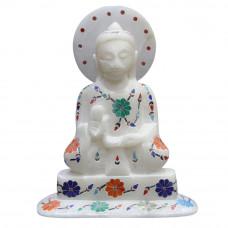 "5"" x 4"" Inch Beautiful Flower Design Inlaid White Marble Buddha Figurine"