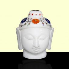 "4"" Inch Handmade White Alabaster Marble Inlay Buddha Head Inlaid With Semi Precious Gemstones"