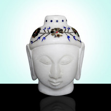 Marble Buddha Head Statue Inlaid With Semi Precious Stones Completely Hand Carved