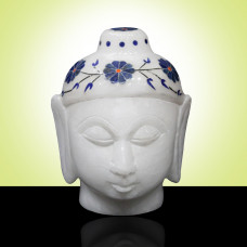Handmade Marble Buddha Head Statue Beautiful Art Work Inlaid WIth Stones Floral Design For Home Decor