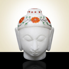 White Alabaster Marble Buddha Head Inlaid With Semi Precious Gemstones Floral Inlay Art Work