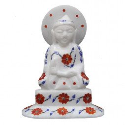 Handmade Buddha Statue Inlaid With Semi Precious Gemstones