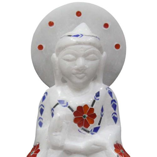 Handmade Buddha Statue Inlaid With Semi Precious Gemstones