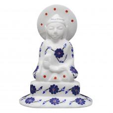 Lapis Lazuli Stones Inlaid Meditating Buddha Statue