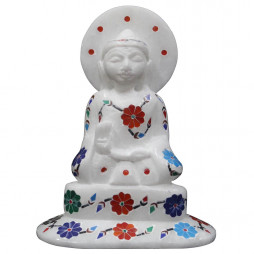 Unique Inlay Art Buddha Statue Decorated With Semi Precious Gemstones