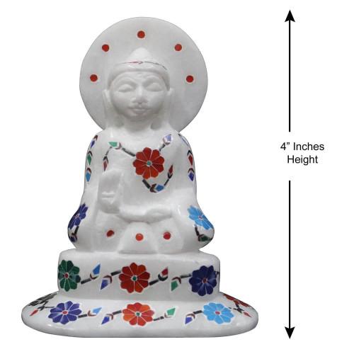 Unique Inlay Art Buddha Statue Decorated With Semi Precious Gemstones