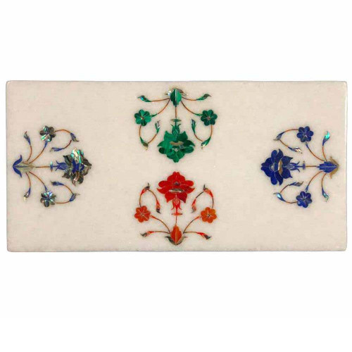 Handmade White Marble Cheese Board Inlaid Semiprecious Gemstones