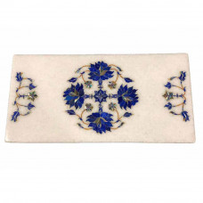 White Marble Cheese Chopping Board Inlaid Flower Pietra Dura Art