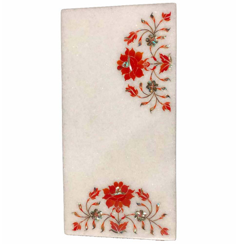 White Marble Kitchen Chopping Board Inlaid Carnelian Gemstone