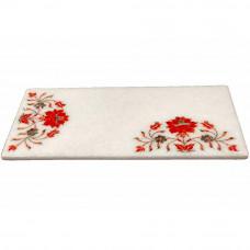 White Marble Kitchen Chopping Board Inlaid Carnelian Gemstone