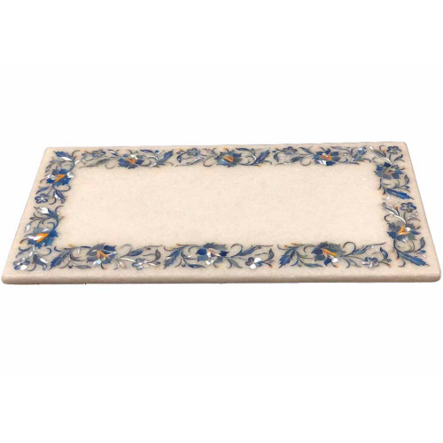 White Marble Serving Platter Inlaid Mother of Pearl Gemstone