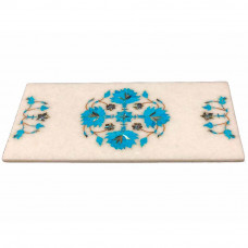 Turquoise Gemstone Inlaid White Marble Cheese Chopping Board