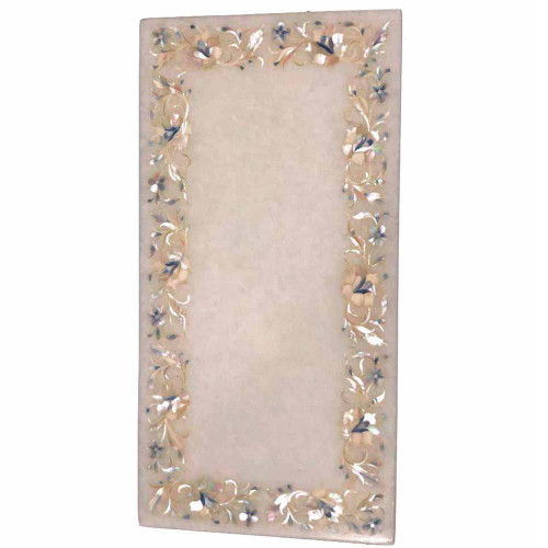Rectangle White Marble Kitchen Cheese Board Inlaid Gemstones