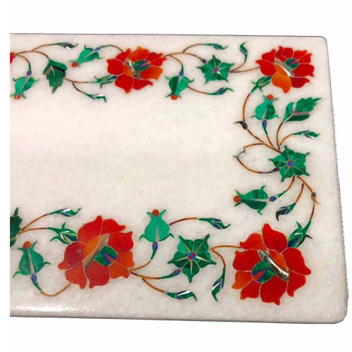 Antique Rectangle White Marble Chopping Board Inlaid Real Gemstones