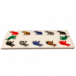 White Marble Kitchen Cheese Board Inlaid Elephant Pietra Dura Art