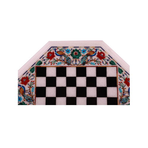 Octagonal Chess Board Table Top With Pieces And Wood Leg Stand