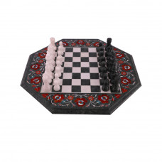 Carnelian Stone Inlay Green Marble Chess Board With Wooden Furniture