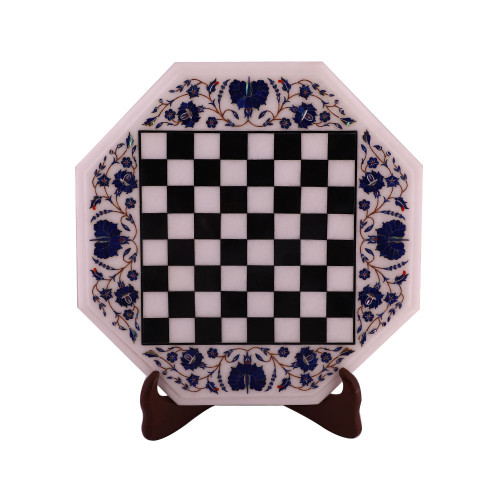 White Marble Chess Board Inlay Lapis Lazuli Gemstone  -Note: Now You Can Ask Offer Price