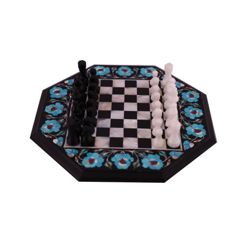 Turquoise Gemstone Inlay Black Marble Chess Set With Pieces