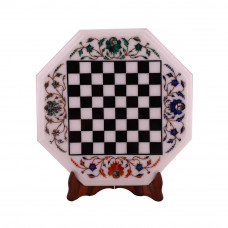 White Marble Inlay Chess Coffee Table Top With Wood Base Stand