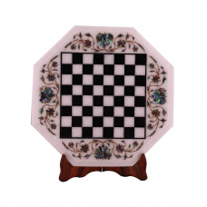 Octagonal White Marble Chess Table Top Inlay Pietra Dura Work