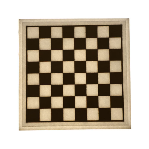 Square White Marble Antique Chess Board Inlaid Gemstone