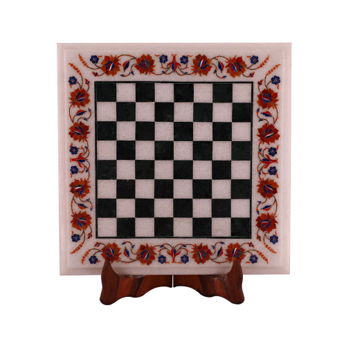 Square White Marble Onyx Chess Board For Home Decor