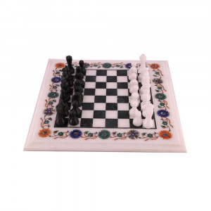 Marble Inlay Chess Set From India Floral Victories