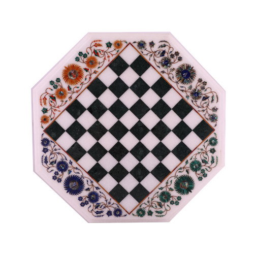 Octagonal White Stone Chess Board For Home Decor