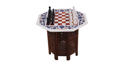 Decorative Hand Carved Marble Chess Set With Vintage Art